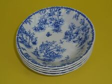 CHURCHILL Blue Toile Scalloped Cereal, Soup, Pasta Bowls, Set of 4, England