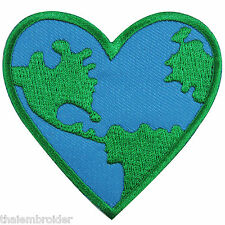 Love The Earth World Heart Nature Conserve Save Energy Map Iron on Patch #A004