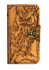 Owl Decoration Samsung Galaxy S4 i9500 Phone Case Real Leather Flip Wallet Cover
