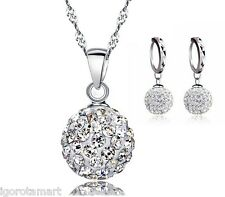 Jewelry Set Silver Austrian Crystal Pave Disco Ball Lever Back Earrings Necklace