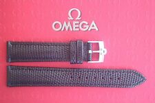 QUALITY 18MM BLACK LIZARD LEATHER WATCH BAND WATCHBAND STRAP SILV BUCKLE 4 OMEGA