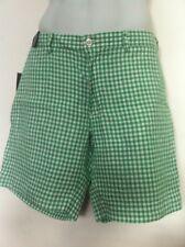 Polo Ralph Lauren Shorts Green Gingham 100% Linen Flat Front Size 36 NWT