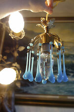 Opaline Vintage Blue Macaroni beaded tole Brass baby room SWAG lamp chandelier
