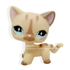 Rare Littlest Pet Shop Short Hair Cat Cream Stripe Kitty Diamond Eyes LPS #886
