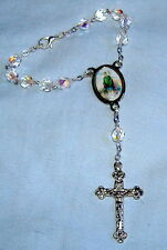 ITALIAN ST SAINT PATRICK IRELAND AUTO ROSARY  6 1/2 inches Clear Crystals NEW