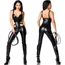Black Catwoman False Leather Wetlook Jumpsuit Catsuit Clubwear Fancy Dress X657
