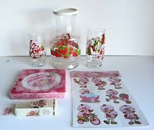 Strawberry Shortcake Lot Juice Carafe Glasses Napkins Stickers Shoe Laces