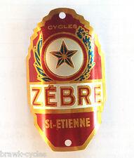 """Plaque de cadre """"CYCLES ZEBRE"""" St Etienne, 1950/60's NEUVE/NOS headbadge."""