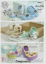 KING COLE 4492 CROCHETED BABY SHOES ORIGINAL CROCHET PATTERN - *1ST CLASS POST*