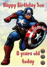 Marvels Captain America large card son n grandson personalised  birthday card d