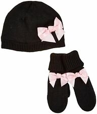 Kate Spade New York Bow Hat & Mitten Set (Toddler)- Black-3T SIZE L/XL(001)