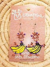 Recycled Dancing Girl Bananas Earrings new Fair Trade from Africa jedg7
