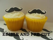 x24 BLACK moustache edible wafer paper stand up cup cake toppers PRE-CUT