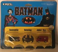 1989 Ertl Batman Micro Machines - Batmobile, Batwing, Joker Van - MOC