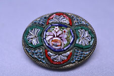 ANTIQUE HANDCRAFTED COLORFUL OVAL MOSAIC PIN WITH TINY PIECES - MADE IN ITALY