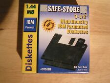 "Box of 10 IBM / Win High Density (2HD) 3.5"" Floppy Discs Safe-Store New Sealed"