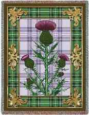 CELTIC SCOTTISH FLOWER THISTLE TAPESTRY THROW AFGHAN BLANKET 53x70