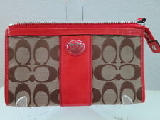 NWT COACH SUTTON SIGNATURE TIEBACK ZIPPY WALLET 47107 KHAKI/CORAL