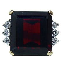 Vintage 9.5ct Garnet Diamond Ring 18K Gold Heavy Estate Jewelry