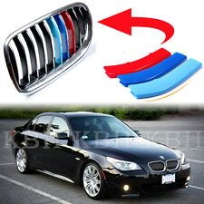 Fit BMW 5 Series E60 E61 2003-10 Kidney Grille M Tech 3 Colour Cover Stripe Clip