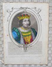 Gravure aquarellée Originale XVIIème par Nicolas Ier de Larmessin - Charles V