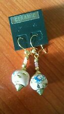 STUNNING GOLD PLATED & PINK CERAMIC BEAD WITH BLUE FLOWER EARRINGS-U.K SELLER