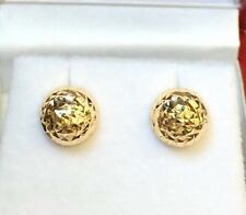 18k Solid Yellow Gold lady Half Balls 8mm Stud Earrings, Diamond Cut 1.40 Grams