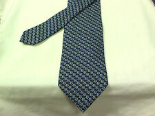 Brooks Brothers Makers Navy Blue Silver Chain Links Woven Silk Neck Tie