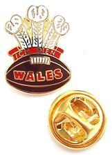 Prince of Wales Feathers Rugby Ball Enamel Lapel Pin Badge T452