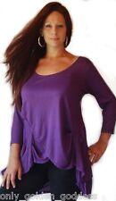 plum blouse shirt top 3/4 sleeve asym L XL 1X 2X OS stretch jersey cross over