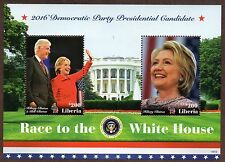 2016 ~ LIBERIA ~ HILLARY CLINTON & BILL CLINTON ~ STAMPS  AND SOUVENIR SHEET