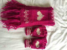 Accessorize angels rose foncé, à grosses mailles foulard + mitaines/moufles set