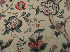 SANDERSON CURTAIN FABRIC Roslyn 4 METRES TEAL & CHERRY 100% LINEN VINTAGE CO