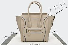 CELINE PARIS Authentic New Micro Luggage Tote Bag Interstice Light Taupe Leather