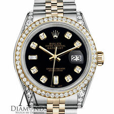 Ladies Black Rolex Steel 18K Gold 26mm Datejust Diamond Jubilee Watch two-tone