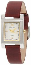 Charles-Hubert Womens Brown Leather Quartz Watch Square Face 6688-W