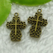 Free Ship 200 pieces bronze plated cross charms 21x14mm #1994