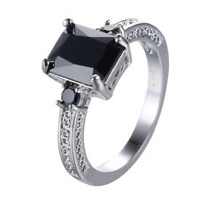 Colorful Sapphire Ring CZ Crystal Band 10KT White Gold Filled Engagement Sz 6-11