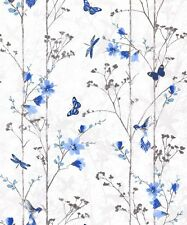 Feature Wall Floral Butterfly Bird Foliage Blue - Muriva Eden Wallpaper 102552
