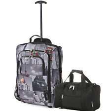 Ryanair Cabin Approved Fits 55x40x20 & 2nd 35x20x20 Hand Luggage CarryON Bag Set