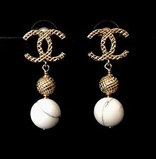 CHANEL GOLD CC LOGO MARBLEIZED PEARL DROP POST EARRINGS NWT 2016