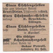 2/110 ANZEIGE AUS ZEITUNG 1889 STELLENMARKT BÖNITZ DÖLLINGEN MARXDORF FALKENBERG