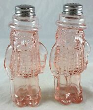 Depression Pink Glass Mr. Peanut Planters Peanuts Salt & Pepper Shakers Set
