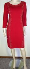 Calvin Klein NWT Sz XL Red Embellished 3/4 Sleeves Sweater Dress $140 7080