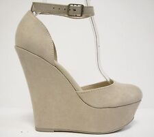 Beige Suede Round Toe Platform Wedge Round Toe Ankle Strap Heels Pumps Shoes 8