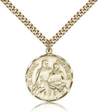 "Saint Raphael The Archangel Medal For Men - Gold Filled Necklace On 24"" Chain..."