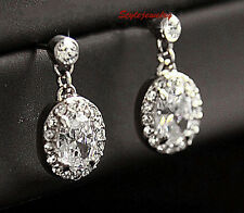 18k White Gold Filled Diamontic Swarovski Crystal Silver Wedding Earring IE66
