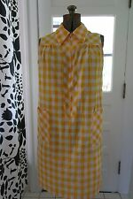 Sweet 60s 70s Yellow Gingham Shift Summer Day Dress M L