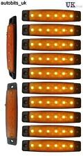 10 pcs ORANGE AMBER 24V 6 LED Side Marker Indicators Lights Truck Lamp Daf Iveco