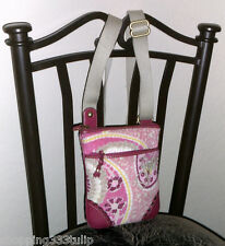Juicy Couture Pink Floral Print Fabric/Leather Purse/Shoulder Bag/Crossbody EUC